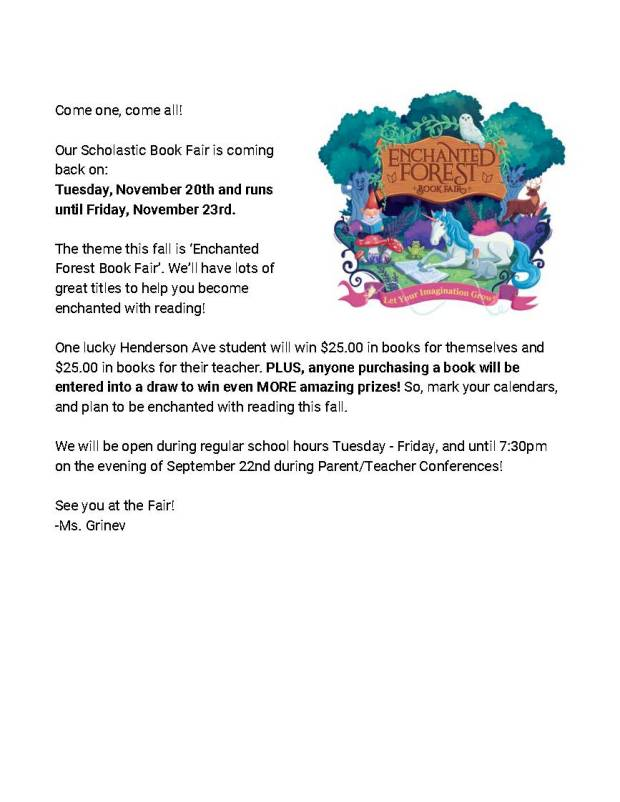 Book Fair - Parent Announcement