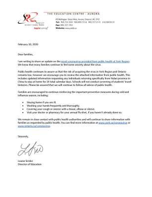 Letter to families - Coronavirus Update - February 10, 2020 (2)
